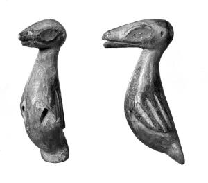 view Carved wooden birds of a medicine man, Cameroons, W. Africa.