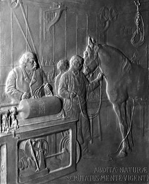 view Plaque commemorating work of Auguste Chauveau.