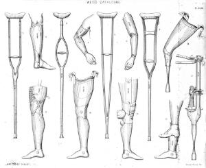 view Artificial limbs and crutches, 19th century.