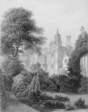 view Gonville and Caius College, Cambridge. Line engraving by J. Le Keux, 1841, after I.A. Bell.