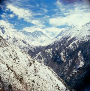 view Mount Everest; Khumbu region, eastern Nepal, 1986