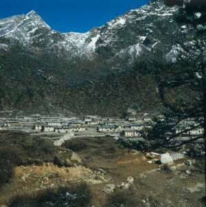 view Nepal; Kunde village with its hospital, 1986