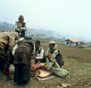 view Nepal; travelling butcher in the Khumbu, 1986. Well-dressed Sherpas buying yak meat from butcher, near Lukla (altitude 2827 metres). Meat is not generally eaten by Sherpas who are Buddhists, adhering to the oldest, unreformed sect of Tibetan Buddhism known as Kar-gyud-pa. Buddhists make up about 5.3% of Nepal's population whilst 89.5% are Hindu. The cultural heritage of the Sherpas, however, has always remained with Tibet.
