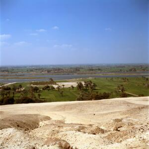 view Desert and fertile land watered by the Nile