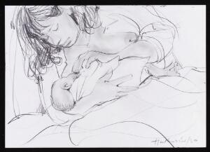 view Mother breastfeeding her baby