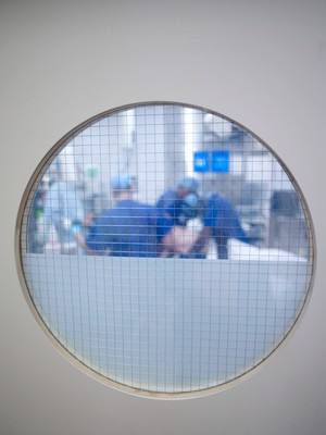 view Window view into an operating theatre, UK