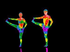 view Yoga practice illustrated with thermography
