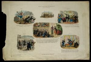 """view Six examples of """"the march of intellect"""". Coloured etching by R. Seymour, 1829."""