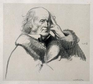 view Sir Henry Wentworth Acland. Lithograph by William Rothenstein.