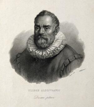 view Ulisse Aldrovandi. Line engraving by G. Barni after F. Rosaspina.