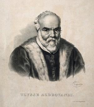 view Ulisse Aldrovandi. Lithograph by P.R. Vignéron.