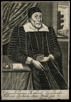 view John Anthony. Line engraving by T. Cross, 1656.
