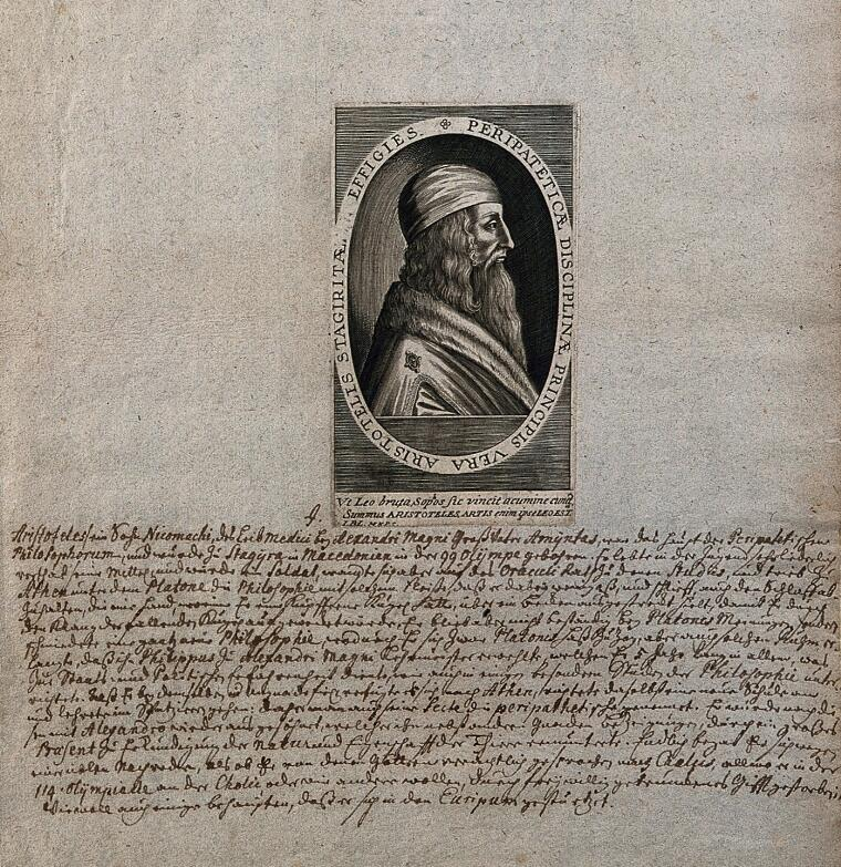 Aristotle  Line engraving    Wellcome Collection
