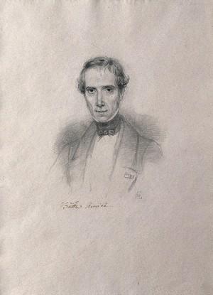 view Giovanni Battista Amici. Pencil drawing by C. E. Liverati, 1841.