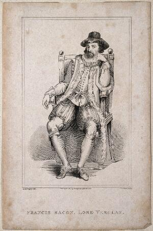 view Francis Bacon, Viscount St Albans. Etching by J. Romney after G. M. Brighty, 1817.