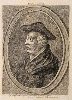 view Roger Bacon. Stipple engraving, 1786.
