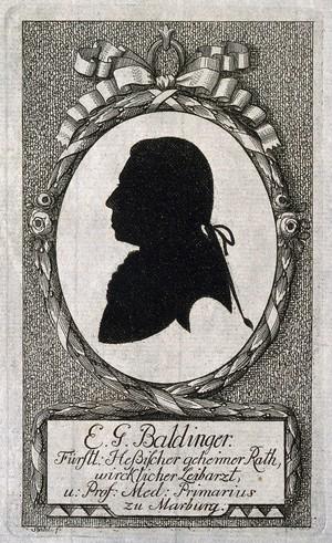 view Ernst Gottfried Baldinger. Silhouette by Stahl.