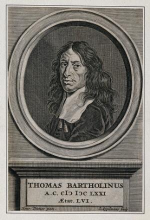 view Thomas Bartholin. Line engraving by G. Appelmans, 1671, after H. Ditmer.