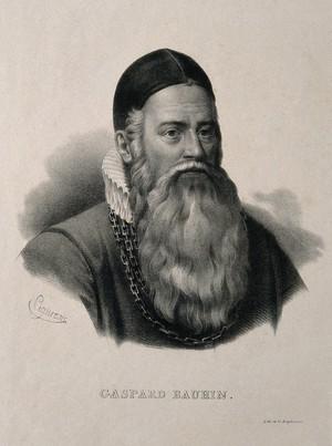 view Caspar Bauhin. Lithograph by P. R. Vignéron.