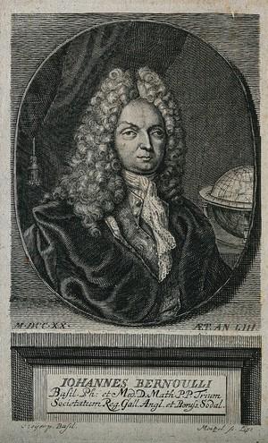 view Johann Bernoulli. Line engraving by J. G. Mentzel, 1720, after C. Leyer [?].