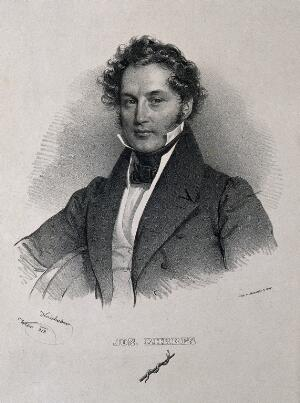 view Joseph von Berres. Lithograph by J. Kriehuber, 1833.