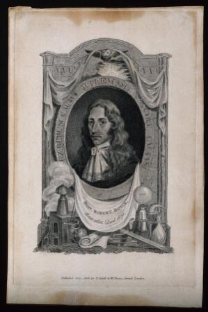 view Robert Boyle. Engraving, 1808.