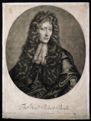 view Robert Boyle. Mezzotint by J. Smith, 1689 after J. Kerseboom, 1689.