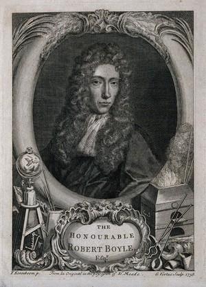 view Robert Boyle. Line engraving by G. Vertue, 1738 after J. Kerseboom.