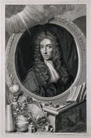 view Robert Boyle. Line engraving by G. Vertue, 1739 after J. Kerseboom.