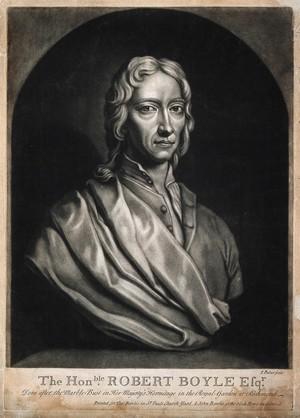 view Robert Boyle. Mezzotint by J. Faber after J. M. Rysbrack, 1733.