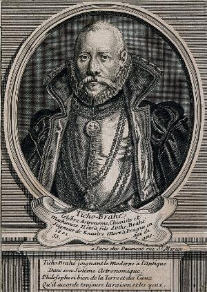 view Tycho Brahe. Line engraving after T. Gemperlin, 1586.