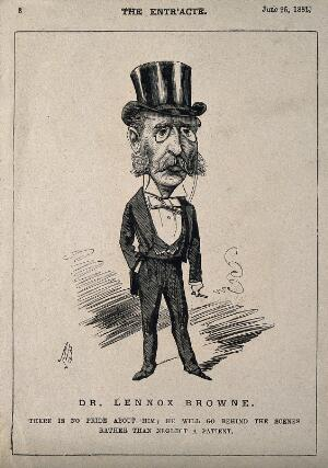 view Isaac Baker Lennox Browne. Wood engraving by or after A. Bryan, 1881.