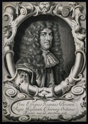 view John Browne. Line engraving by R. White after himself, 1678.