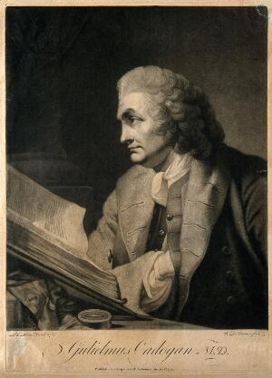 view William Cadogan. Mezzotint by W. Dickinson, 1772, after R. E. Pine, 1769.