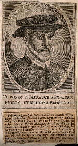 view Hieronymus Capivaccius. Line engraving by H. David, 1630.