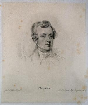 view George William Frederick Howard, 7th Earl of Carlisle. Soft-ground etching by J. G. Lairs after J. Slater.