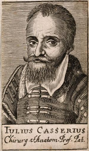 view Giulio Casserio. Line engraving, 1688.