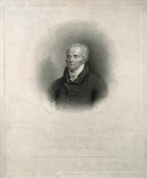 view Sir Astley Paston Cooper. Stipple engraving by J. Alais, 1824, after J. W. Rubidge.