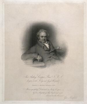 view Sir Astley Paston Cooper. Stipple engraving by J. S. Agar, 1825, after A. Wivell.