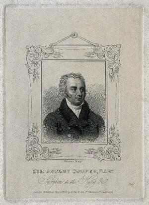 view Sir Astley Paston Cooper. Stipple engraving by S. Freeman, 1828.