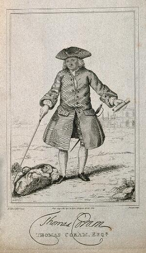 view Thomas Coram, in the foreground an infant in a basket, in the background the Foundling Hospital. Line engraving by T. Priscott, 1817, after B. Nebot, 1741.