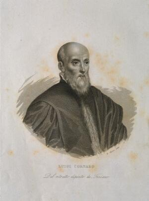 view Luigi Cornaro. Line engraving by F. Clerici.