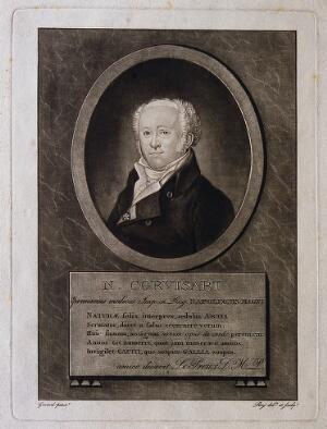 view Jean-Nicolas, Baron Corvisart. Mezzotint by Roy after himself after F. P. S. Gérard.