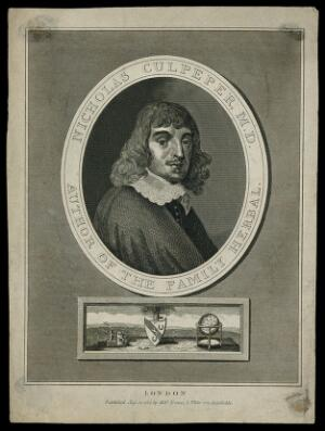 view Nicholas Culpeper. Line engraving by J. Chapman [?], 1814.