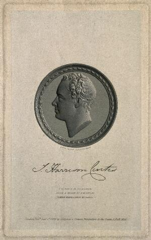 view John Harrison Curtis. Line engraving by A. R. Freebairn, 1839, after E. W. Wyon after P.A. Sarti.