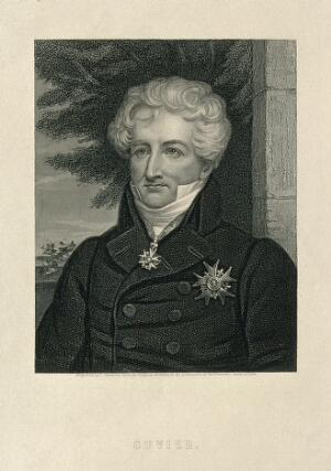 view Georges-Léopold-Chrétien-Frédéric-Dagobert, Baron Cuvier. Stipple engraving by J. Thomson.