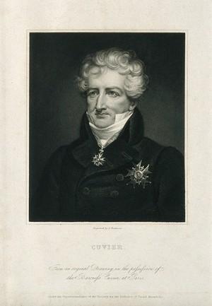view Georges-Léopold-Chrétien-Frédéric-Dagobert, Baron Cuvier. Stipple engraving by J. Thomson.