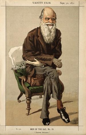 view Charles Robert Darwin. Colour lithograph, 1871.