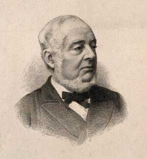 view Warren de la Rue. Wood engraving by F. Joubert.