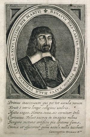 view René Descartes. Line engraving by F. à Schooten, 1644.